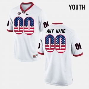 #00 Georgia Bulldogs Youth(Kids) US Flag Fashion Custom Jersey - White