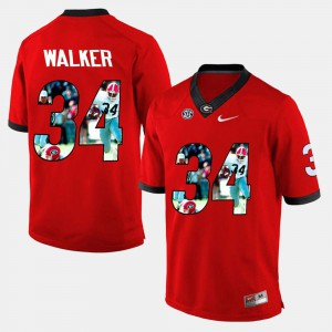 #34 Herschel Walker Georgia Bulldogs Men's Player Pictorial Jersey - Red