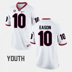 #10 Jacob Eason Georgia Bulldogs College Football For Kids Jersey - White