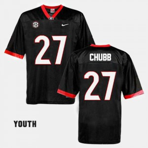 #27 Nick Chubb Georgia Bulldogs For Kids College Football Jersey - Black