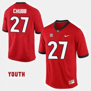 #27 Nick Chubb Georgia Bulldogs Youth College Football Jersey - Red