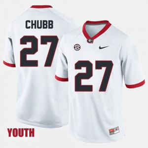 #27 Nick Chubb Georgia Bulldogs College Football For Kids Jersey - White