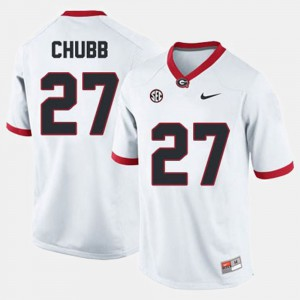 #27 Nick Chubb Georgia Bulldogs College Football Men Jersey - White