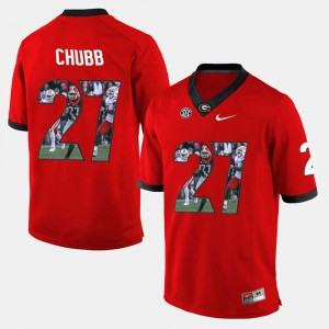 #27 Nick Chubb Georgia Bulldogs Mens Player Pictorial Jersey - Red