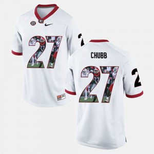 #27 Nick Chubb Georgia Bulldogs Player Pictorial For Men's Jersey - White
