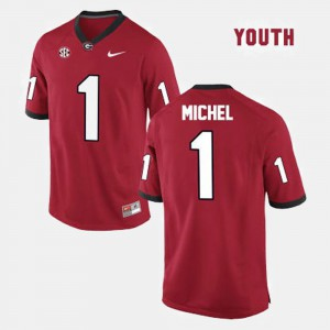 #1 Sony Michel Georgia Bulldogs For Kids College Football Jersey - Red