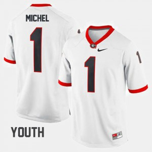 #1 Sony Michel Georgia Bulldogs College Football Youth Jersey - White
