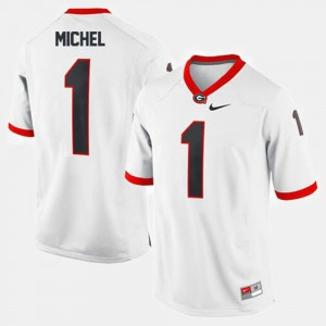 #1 Sony Michel Georgia Bulldogs College Football Men's Jersey - White