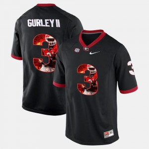 #3 Todd Gurley II Georgia Bulldogs Player Pictorial For Men Jersey - Black