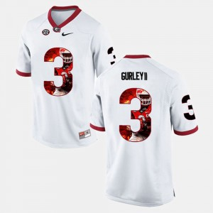 #3 Todd Gurley II Georgia Bulldogs Player Pictorial For Men Jersey - White