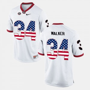 #34 Herschel Walker Georgia Bulldogs US Flag Fashion For Men's Jersey - White
