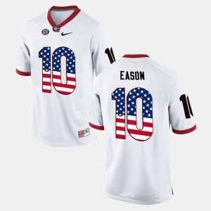 #10 Jacob Eason Georgia Bulldogs US Flag Fashion Men Jersey - White