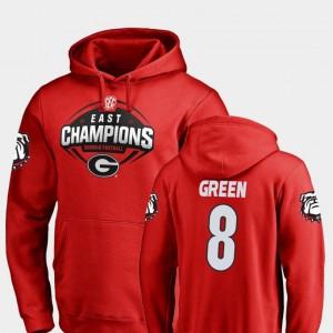 #8 A.J. Green Georgia Bulldogs Men's 2018 SEC East Division Champions Football Hoodie - Red