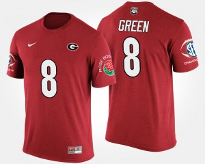 #8 A.J. Green Georgia Bulldogs Southeastern Conference Rose Bowl Bowl Game For Men's T-Shirt - Red