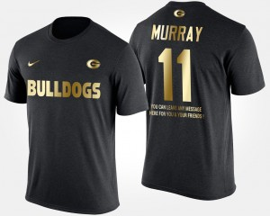 #11 Aaron Murray Georgia Bulldogs Men's Short Sleeve With Message Gold Limited T-Shirt - Black