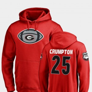 #25 Ahkil Crumpton Georgia Bulldogs Game Ball Men's Football Hoodie - Red