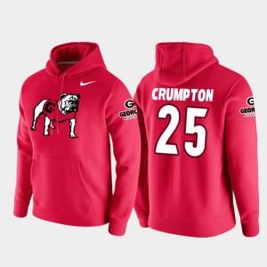 #25 Ahkil Crumpton Georgia Bulldogs For Men Vault Logo Club College Football Pullover Hoodie - Red