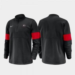 Georgia Bulldogs Mens 2019 Coaches Sideline Half-Zip Performance Jacket - Black