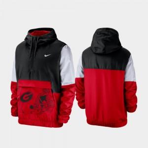 Georgia Bulldogs Quarter-Zip Colorblock Anorak Men's Jacket - Black