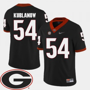 #54 Brandon Kublanow Georgia Bulldogs Men's 2018 SEC Patch College Football Jersey - Black