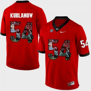 #54 Brandon Kublanow Georgia Bulldogs Pictorial Fashion For Men's Jersey - Red