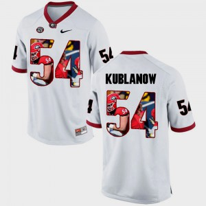 #54 Brandon Kublanow Georgia Bulldogs Pictorial Fashion Men Jersey - White