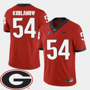 #54 Brandon Kublanow Georgia Bulldogs Men College Football 2018 SEC Patch Jersey - Red