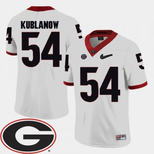 #54 Brandon Kublanow Georgia Bulldogs College Football 2018 SEC Patch Men Jersey - White
