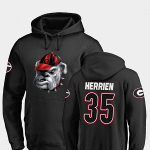 #35 Brian Herrien Georgia Bulldogs For Men's Midnight Mascot Football Hoodie - Black