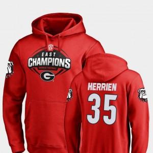 #35 Brian Herrien Georgia Bulldogs 2018 SEC East Division Champions Men Football Hoodie - Red