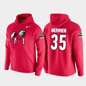 #35 Brian Herrien Georgia Bulldogs Men's College Football Pullover Vault Logo Club Hoodie - Red