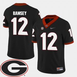 #12 Brice Ramsey Georgia Bulldogs 2018 SEC Patch College Football Mens Jersey - Black