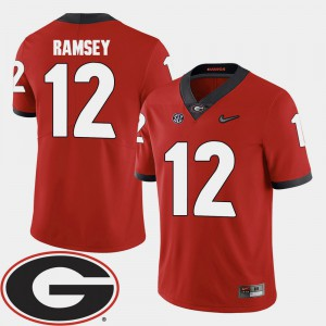#12 Brice Ramsey Georgia Bulldogs Men's 2018 SEC Patch College Football Jersey - Red