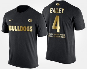 #4 Champ Bailey Georgia Bulldogs Gold Limited Short Sleeve With Message Men's T-Shirt - Black