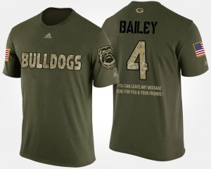 #4 Champ Bailey Georgia Bulldogs Short Sleeve With Message Military Mens T-Shirt - Camo
