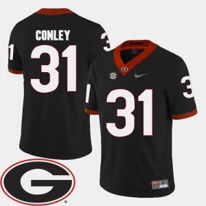 #31 Chris Conley Georgia Bulldogs College Football 2018 SEC Patch Mens Jersey - Black