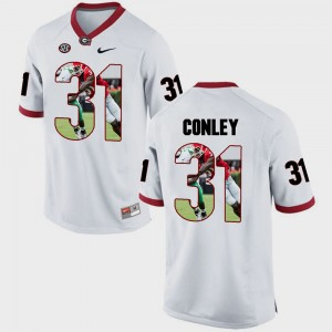 #31 Chris Conley Georgia Bulldogs Men's Pictorial Fashion Jersey - White
