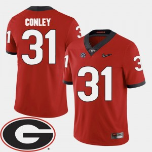 #31 Chris Conley Georgia Bulldogs 2018 SEC Patch College Football For Men Jersey - Red