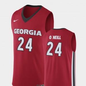 #24 Connor O'Neill Georgia Bulldogs For Men's College Basketball Replica Jersey - Red