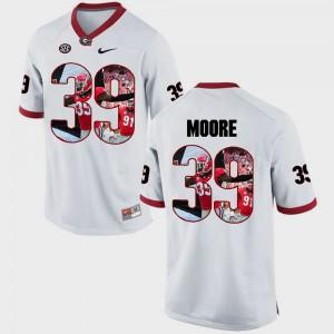 #39 Corey Moore Georgia Bulldogs Pictorial Fashion For Men Jersey - White