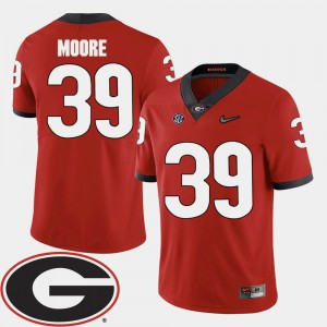 #39 Corey Moore Georgia Bulldogs 2018 SEC Patch College Football For Men's Jersey - Red
