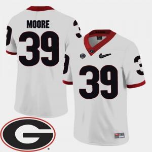 #39 Corey Moore Georgia Bulldogs College Football Mens 2018 SEC Patch Jersey - White