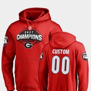 #00 Georgia Bulldogs Football 2018 SEC East Division Champions Mens Custom Hoodies - Red