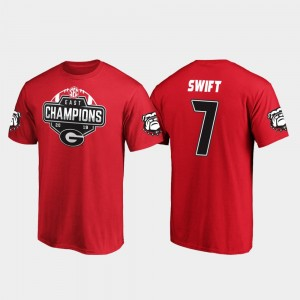 #7 D'Andre Swift Georgia Bulldogs 2019 SEC East Football Division Champions Men's T-Shirt - Red