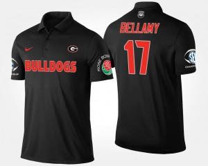 #17 Davin Bellamy Georgia Bulldogs Mens Southeastern Conference Rose Bowl Bowl Game Polo - Black