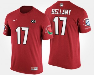 #17 Davin Bellamy Georgia Bulldogs Mens Bowl Game Southeastern Conference Rose Bowl T-Shirt - Red