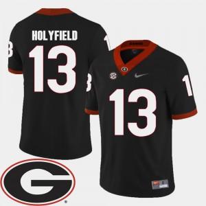 #13 Elijah Holyfield Georgia Bulldogs College Football 2018 SEC Patch For Men Jersey - Black