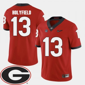 #13 Elijah Holyfield Georgia Bulldogs For Men's College Football 2018 SEC Patch Jersey - Red