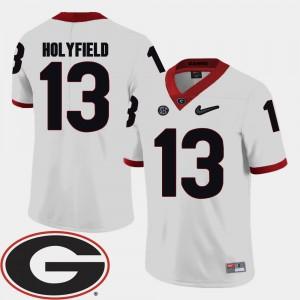 #13 Elijah Holyfield Georgia Bulldogs College Football Mens 2018 SEC Patch Jersey - White