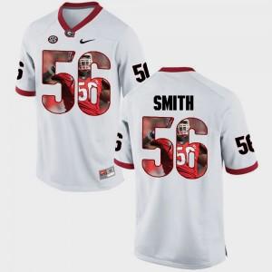 #56 Garrison Smith Georgia Bulldogs Pictorial Fashion Mens Jersey - White